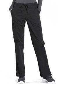 Cherokee Workwear Mid Rise Straight Leg Drawstring Pant Black (WW160-BLK)