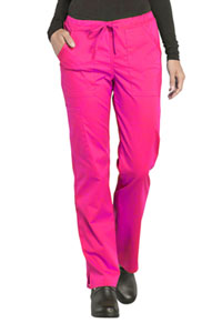 Cherokee Workwear Mid Rise Straight Leg Drawstring Pant Electric Pink (WW160-EEPI)