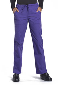 Cherokee Workwear Mid Rise Straight Leg Drawstring Pant Grape (WW160-GRP)