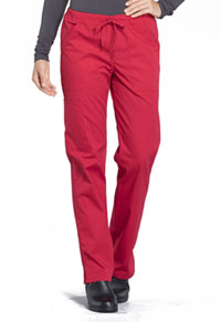 WW Professionals Mid Rise Straight Leg Drawstring Pant (WW160-RED) (WW160-RED)