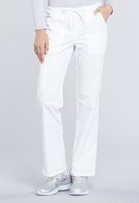 Cherokee Workwear Mid Rise Straight Leg Drawstring Pant White (WW160-WHT)
