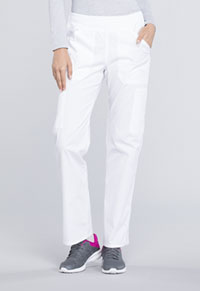 Cherokee Workwear Mid Rise Straight Leg Pull-on Cargo Pant White (WW170-WHT)