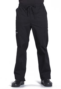 Cherokee Workwear Men's Tapered Leg Drawstring Cargo Pant Black (WW190-BLK)