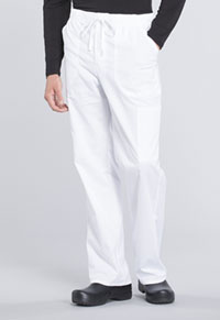 Cherokee Workwear Men's Tapered Leg Drawstring Cargo Pant White (WW190-WHT)