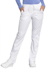 fa1e3f1a40d Cherokee Workwear Mid Rise Straight Leg Drawstring Pant White WW235AB-WHT