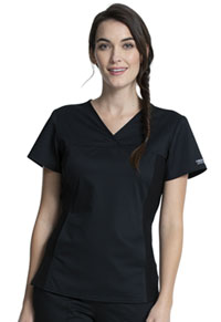 Cherokee Workwear V-Neck Knit Panel Top Black (WW2875-BLK)