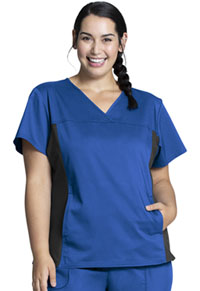 Cherokee Workwear V-Neck Knit Panel Top Royal (WW2875-ROY)