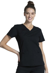 Cherokee Workwear V-Neck Knit Panel Top Black (WW2968-BLK)