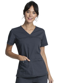Cherokee Workwear V-Neck Knit Panel Top Pewter (WW2968-PWT)
