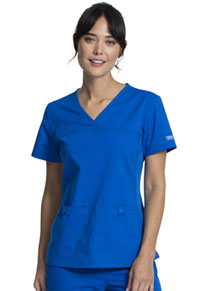Cherokee Workwear V-Neck Knit Panel Top Royal (WW2968-ROY)
