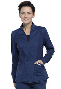Cherokee Workwear Zip Front High-Low Jacket Navy (WW301-NAV)