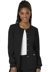 Cherokee Workwear Snap Front Jacket Black (WW310-BLK)