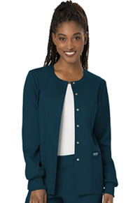 Cherokee Workwear Snap Front Warm-up Jacket Caribbean Blue (WW310-CAR)