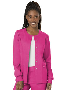 Cherokee Workwear Snap Front Warm-up Jacket Electric Pink (WW310-EEPI)