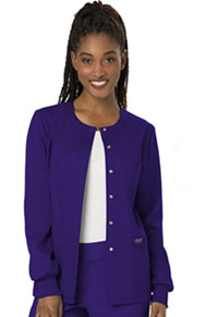 Cherokee Workwear Snap Front Warm-up Jacket Grape (WW310-GRP)