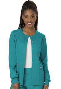 Cherokee Workwear Snap Front Warm-up Jacket Teal Blue (WW310-TLB)
