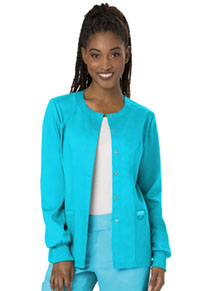 Cherokee Workwear Snap Front Warm-up Jacket Turquoise (WW310-TRQ)