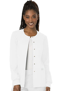 Cherokee Workwear Snap Front Jacket White (WW310-WHT)