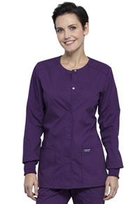 Cherokee Workwear Snap Front Warm-up Jacket Eggplant (WW340-EGG)
