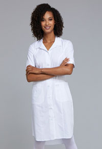 Cherokee Workwear Button Front Dress White (WW500-WHT)