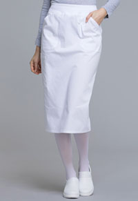 Cherokee Workwear 30 Knit Waistband Skirt White (WW510-WHT)