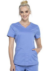 Cherokee Workwear V-Neck Top Ciel Blue (WW601-CIE)