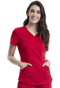 Cherokee Workwear V-Neck Top Red (WW601-RED)