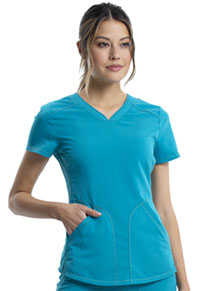 Cherokee Workwear V-Neck Top Teal Blue (WW601-TLB)