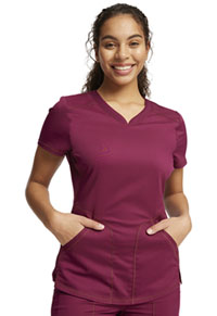 Cherokee Workwear V-Neck Top Wine (WW601-WIN)