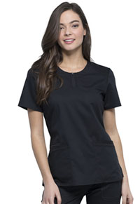 Cherokee Workwear Round Neck Top Black (WW602-BLK)