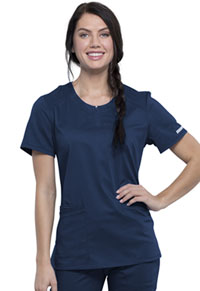 Cherokee Workwear Round Neck Top Navy (WW602-NAV)