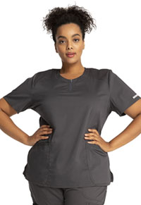 Cherokee Workwear Round Neck Top Pewter (WW602-PWT)