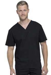 Cherokee Workwear Unisex Pocketless Tuckable V-Neck Top Black (WW605-BLK)