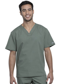 Cherokee Workwear Unisex Pocketless V-Neck Top Olive (WW605-OLV)