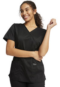 Cherokee Workwear Mock Wrap Top Black (WW610-BLK)
