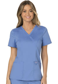 Cherokee Workwear Mock Wrap Top Ciel Blue (WW610-CIE)