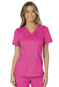 Cherokee Workwear Mock Wrap Top Electric Pink (WW610-EEPI)