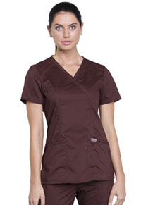 Cherokee Workwear Mock Wrap Top Espresso (WW610-ESP)