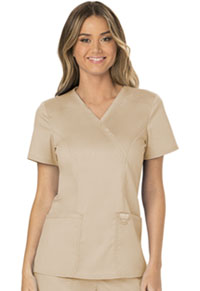 Cherokee Workwear Mock Wrap Top Khaki (WW610-KAK)
