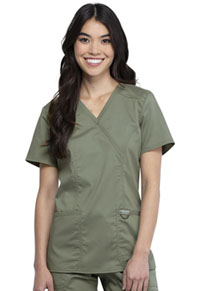 Cherokee Workwear Mock Wrap Top Olive (WW610-OLV)