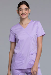 Cherokee Workwear Mock Wrap Top Oh So Orchid (WW610-OSOR)