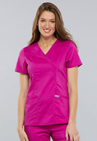 Cherokee Workwear Mock Wrap Top Pink Azalea (WW610-PKAZ)