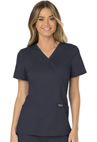 Cherokee Workwear Mock Wrap Top Pewter (WW610-PWT)