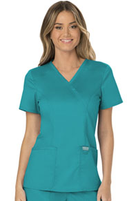 Cherokee Workwear Mock Wrap Top Teal Blue (WW610-TLB)
