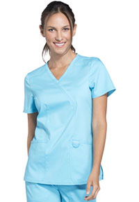 Cherokee Workwear Mock Wrap Top Turquoise (WW610-TRQ)