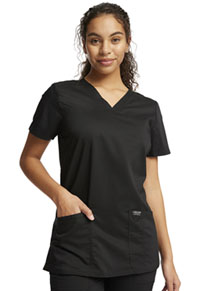 Cherokee Workwear V-Neck Top Black (WW620-BLK)