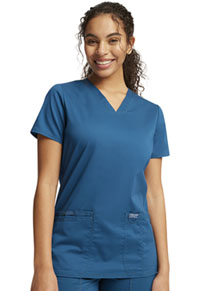 Cherokee Workwear V-Neck Top Caribbean Blue (WW620-CAR)
