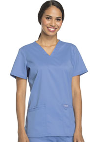 Cherokee Workwear V-Neck Top Ciel Blue (WW620-CIE)