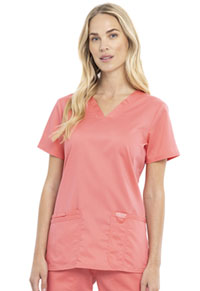 Cherokee Workwear V-Neck Top Blushing Coral (WW620-CRIC)