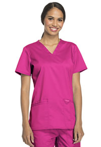 Cherokee Workwear V-Neck Top Electric Pink (WW620-EEPI)